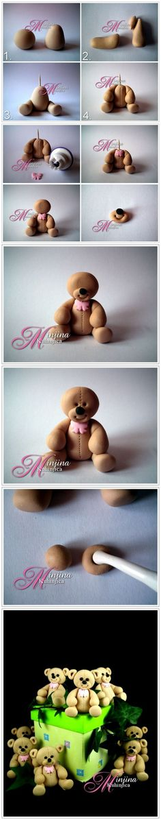 How to make a teddy bear out of fondant, modeling chocolate, or clay Fondant Toppers, Fondant Cakes, Cupcake Cakes, Mini Cakes, Cupcake Toppers, Cake Topper Tutorial, Fondant Tutorial, Cake Decorating Techniques, Cake Decorating Tutorials