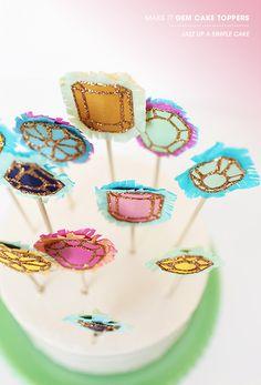 Glitter gem cake toppers