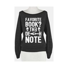 Favorite Book? The Death Note ❤ liked on Polyvore featuring tops, shirts, sweaters, shirt tops and animal shirts