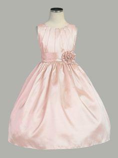 Pink Pleated Solid Taffeta Dress w/ Hand Rolled Flower