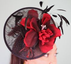 Red magnolia BY THE SEA * CINDY BLAKE #HatAcademy #Millinery #hats