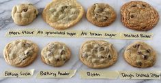 The Ultimate Guide to Chocolate Chip Cookies. What questions do you have about chocolate chip cookies? Do you prefer soft or crisp, chewy or cakey, thin or thick cookies? Baking Soda Baking Powder, Delicious Desserts, Yummy Food, Tasty, Dessert Recipes, Delicious Chocolate, Dessert Bars, Yummy Eats, Drink Recipes
