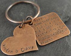 Bronze-Key Chain Datum Tag von PersonalizedTreazure auf Etsy