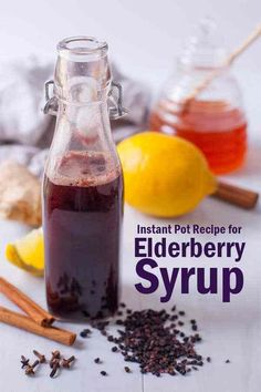 Feb 2018 - Elderberry syrup is an easy, all natural, immunity boosting home remedy that studies have shown can help shorten the effects of the flu. This elderberry syrup recipe uses the Instant Pot so that your syrup is ready in under an hour! Elderberry Fruit, Elderberry Recipes, Elderberry Ideas, Instant Pot, Cinnamon Benefits, Pressure Cooker Recipes, Pressure Cooking, Slow Cooker, Recipe Using