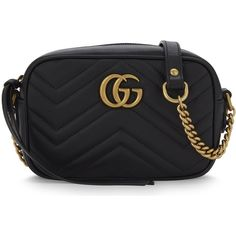 Gucci GG Marmont mini quilted leather cross-body bag ($915) ❤ liked on Polyvore featuring bags, handbags, shoulder bags, cross-body handbag, zip shoulder bag, quilted chain shoulder bag, mini handbags and quilted leather crossbody
