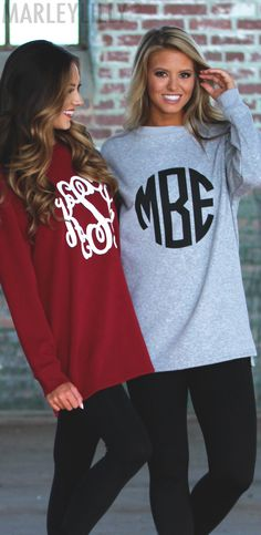 Matching Monogrammed Crewneck Sweatshirts ON SALE ~ shop for you and your bestie now!
