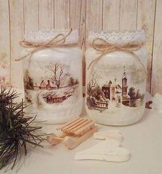 Christmas Decoupage, Christmas Jars, Christmas Time, Christmas Decorations, Jar Crafts, Diy And Crafts, Mason Jar Snowman, Decoupage Jars, Jar Design