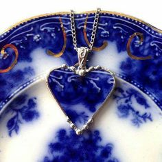 Beautiful Antique Flow Blue Rose, Broken China Heart Pendant Necklace.A Chip Off Of The Ol' Plate! #jewelry #1880s #vintage