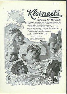 Millinery for Mermaids Kleinert's Bathing Caps ad 1919