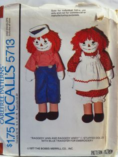 McCall's 5713 Raggedy Ann and Andy© Stuffed Dolls with Blue Transfer for Embroidery