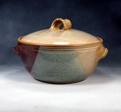 phenix pottery Desert Yellow Large Casserole Dish WIth Lid Handthrown Stoneware Pottery 3