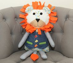 Personalized Stuffed Lion Toy Handmade Plush Gift. Christening or New Baby Gift. Your child name on the lion. Gift for girl or boy.