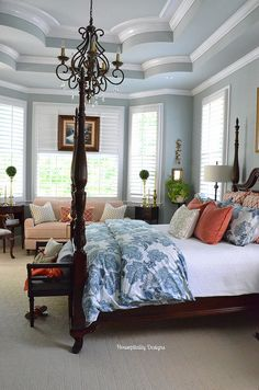Love this master bedroom!  Light with blinds to darken for a nap.  blues with some pops of peachy coral
