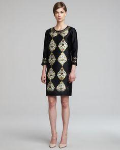 3/4-Sleeve Printed Silk Twill Dress, Black/Multi by Etro at Bergdorf Goodman.
