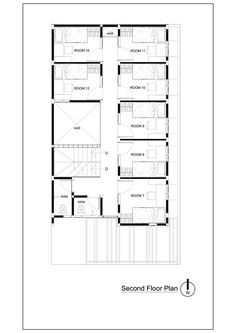 Gallery of Bioclimatic and Biophilic Boarding House / Andyrahman Architect - 19 Free Floor Plans, Home Design Floor Plans, House Floor Plans, Plan Design, Dorm Room Layouts, House Layouts, The Plan, How To Plan, Dormitory Room