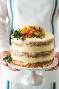 Lemon, rosemary and olive oil layer cake with cream-cheese icing