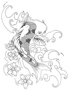 koi tattoo - really like this one minus the cherry blossoms in that spot