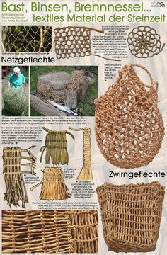 Textiles Material der Steinzeit Textile material from the Stone Age bag Willow Weaving, Basket Weaving, Textiles, Art Macramé, Stone Age Art, Craft Projects, Projects To Try, Diy And Crafts, Arts And Crafts