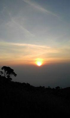 Sunset in merbabu mount