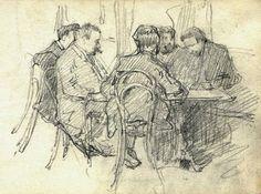 Arturo Rietti, Al caffè, schizzo a matita su carta, coll. Allianz Spa - Pinacoteca Lloyd Adriatico, Trieste