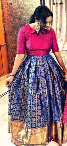 Half Saree Lehenga, Lehenga Gown, Saree Dress, Anarkali Suits, Sarees, Half Saree Designs, Kurta Designs, Blouse Designs, Designer Lehanga