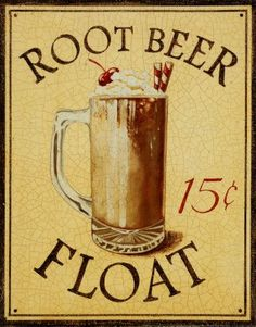 Malt Shop IV Root Beer Float Art Print Poster by Catherine Jones, 11 x 14 Vintage Advertisements, Vintage Ads, Vintage Prints, Vintage Posters, Retro Ads, Vintage Food, Vintage Sweets, Vintage Baking, Vintage Party