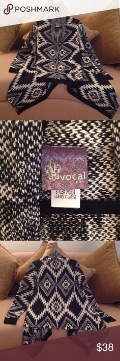 🍃🌹'Vocal' - Super Wide Aztec Print Top This, poncho style knit top is amazing , gorgeous, flowy, comfortable, stylish etc etc etc. in Size Large / extra Large.  It's not heavy on the body. The beautiful Black and White colors in an Aztec print. Made of Acrylic/Polyester blend. Perfect with anything black underneath. Or try Royal Blue under it. This is new but has no tags attached. 💋 Price is firm! Sweaters Shrugs & Ponchos
