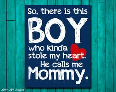Boy Stole Moms Heart Wall Art Home Decor by LittleLifeDesigns