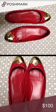 Tori Burch red and gold flats Red and gold Tory Burch flats size 10M Tory Burch Shoes Flats & Loafers