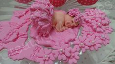 FONDANT PINK TUTU Baby Topper with flowers and/or by anafeke2