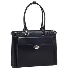 The Winnetka Ladies Leather Briefcase - Black