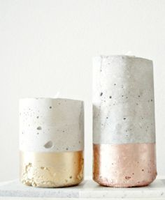 DIY Gold-Dipped Concrete Votives Tutorial