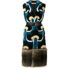 Marni Portrait print fur gilet coat ($8,446) ❤ liked on Polyvore featuring outerwear, coats, black, long lapel coat, multi colored fur coat, colorful coat, wrap coat and long slip