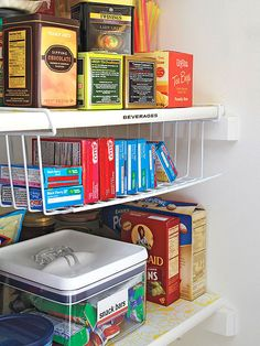 Double your storage areas by using wire hanging shelves over existing shelves.