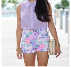 Purple chiffon top with floral shorts. Cuuute xx