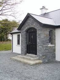 At Sinclair MacCombe Stone Masonry we have extensive experience of building house fronts to your design requirements, we specialise in architectural masonry including flat, round and gothic arches, as well as corbels and natural stone lintels. Bungalow Porch, Modern Bungalow Exterior, Bungalow Haus Design, Cottage Porch, House Design, House With Porch, House Front, Stone Front House, Facades