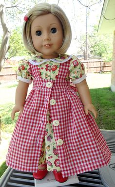 18 Doll Clothes Dress and Pinafore for Spring by Designed4Dolls