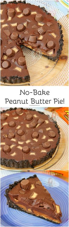 No-Bake Peanut Butter Pie! ❤️ An Oreo Crust, Peanut Butter Layer, Smooth Chocolate Ganache Filling, and Peanut Butter Cups!