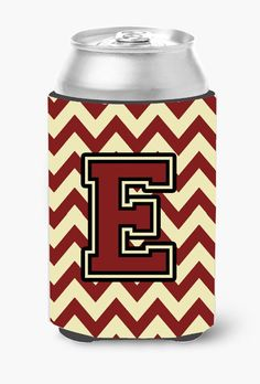 Letter E Chevron Maroon and Gold Can or Bottle Hugger CJ1061-ECC