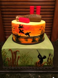 Duck hunting cake. Painted on fondant.