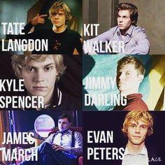 Tate!Kit!Kyle!Jimmy!James! Evan Peters is bae