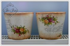 Deco-Pasja Painted Clay Pots, Painted Flower Pots, Vasos Vintage, Popular Crafts, Metal Homes, Shabby Vintage, Crafty Craft, Painting On Wood, Garden Pots