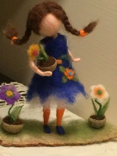 "Needle felted doll with flower Waldorf inspired Wool Fairy ""Small florist"" Soft sculpture Art doll Collectible doll Home decor Gift Needle felted waldorf inspired Fairy Small by BottegaSogni Wool Needle Felting, Wet Felting, Wool Dolls, Felt Dolls, Felt Crafts, Fabric Crafts, Doll Home, Felt Fairy, Fairy Figurines"