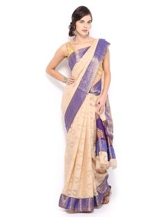 Buy Bunkar Beige Cotton Fashion Saree - 495 - Apparel for Women - 313529