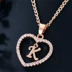 Best Seller Romantic Love Pendant Necklace For Girls 2019 Women Rhinestone Initial Letter Necklace Alphabet Gold Collars Trendy New Charms Letter Pendant Necklace, Letter Pendants, Initial Pendant, Love Necklace, Simple Necklace, Necklace Types, Initial Necklace, Crystal Necklace, Crystal Pendant