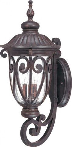 Nuvo 60/2061 Arm Up, Wall Lantern with Clear Seeded Glass, Burlwood, Large by Nuvo. $185.72. Burlwood large, arm up, wall lantern with clear seeded glass. (3) 40-Watt type B candelabra base bulbs not included.