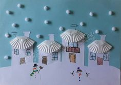 Snow art using pom-pom/cotton balls & cupcake liners. (This is in a foreign language) Winter Art Projects, Winter Crafts For Kids, Winter Kids, Projects For Kids, Diy For Kids, Winter Snow, Diy And Crafts, Christmas Crafts, Christmas Decorations