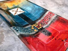 M Beneke fused glass platter 52x29cm