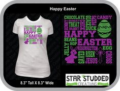 Easter, Happy Easter shirt for Girls or Women Size small to 3X by StarStuddedCreate on Etsy