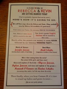 Rebecca And Kevin Had Super Creative Wedding Programs Of Course They Ll Have